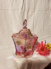 Fenton Iridescent Pink Grape Hexagonal Box Lidded Candy Dish