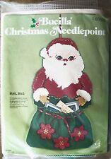 Vintage Bucilla MAIL BAG Christmas Needlepoint Kit 60528 Santa Plastic Canvas