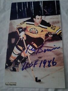 Leo Boivin Autographed Vintage 4 x 6 Photo Card Signed IP HOF