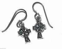 "New Earrings, Celtic Cross, Sterling-Silver Niobium-Wires  1"""