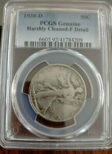 1938-D Walking Liberty Half Dollar ~ PCGS Graded Harshly Cleaned-F Details!!!