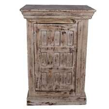 Snow White Distressed Mango Wood Nightstand Endtable Cabinet