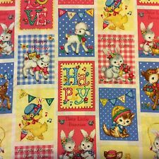 RPFQG14J Retro Kitty Cat Kitten Bunny Rabbit Baby Deer Chick Cotton Quilt Fabric