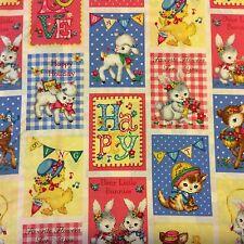 RPFQG14J Retro Kitty Cat Kitten Bunny Rabbit Baby Deer Chick Cotton Quilt Fabric