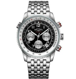 Rotary Men's Black Dial Chronograph Tachymeter Bracelet Watch Gents GB03351/19