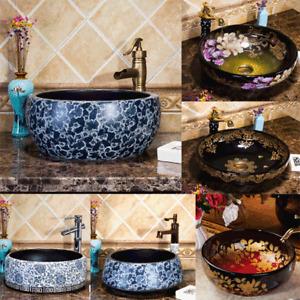 Bathroom Round Vessel Sink Ceramic Wash Basin Bowl Faucet Mixer Tap Drain Combo
