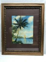 Vtg 1930's R. Atkinson Fox Sail Boat Sunset Palm Tree Lithograph Print Framed