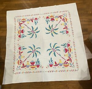 """Vintage Tablecloth, Mexican Theme,Cactus,Sombrero, Pottery,Palm Tree.Square 46"""""""