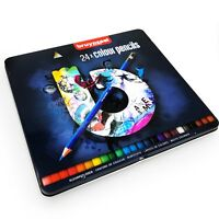 Bruynzeel Colouring Pencils - 24 Assorted Colours in Metal Gift Tin - Blue Set