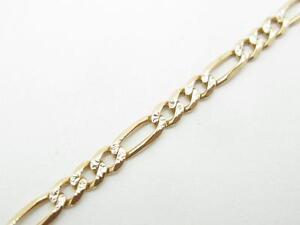 "14k Yellow Gold Figaro Link Design 10"" Length Lobster Lock Ankle Bracelet 3.5 Gr"