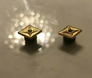 Vintage Diamond Shaped Magnetic Red Jeweled Golden Small Cuff Links Rare