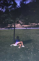 Vintage Photo Slide 1981 Woman Posed Legs Flirty Laying Down Outside Park