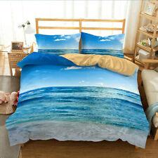 3D Ocean Beach Duvet Doona Quilt Cover Set Queen King Bedding Set Pillowcase