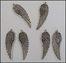 METAL CHARM #829 x 6 ANGEL WING Antique Silver Tone (50mm x 15mm) pendant