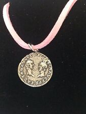 "Denarius Vespa Roman Coin WC27  Made From Fine Pewter On 18"" Pink Cord Necklace"