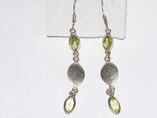 Sterling silver 925 Peridot gemstone long drop earrings