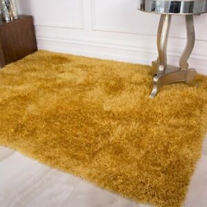 Ochre Yellow Mustard Shaggy Rug Thick Anti Shed Deep Soft Warm Carpet Area Rug