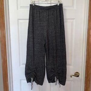 $188 NWT Bryn Walker Ruched Crop Pants L Large Dark Grey Oversized Wool Blend