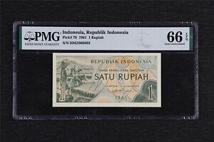 1961 Indonesia Republik Indonesia 1 Rupiah Pick#78 PMG 66 EPQ Gem UNC