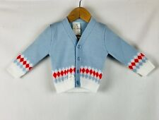Sweater Vintage Baby Boy Cardigan MCM Red Turquoise White Rockabilly 6-12mo