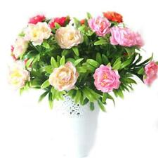 Artificial Flowers Fake Plant Outdoor Faux Floral Greenery Peony Plants Decor