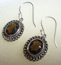 Handmade 925 Sterling Silver Natural Faceted Smoky Topaz Earrings
