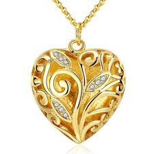 Elegant 18k Yellow Gold Filled GF Filigree Heart CZ Pendant Necklace Woman N443