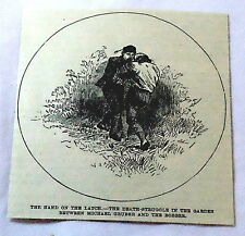 1886 magazine engraving~ HAND ON THE LATCH man wrestles robber in death-struggle