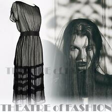 VINTAGE 20s SILK DRESS BLACK 30s GATSBY WEDDING 8 10 12 14 16 VICTORIAN BOHO 40s