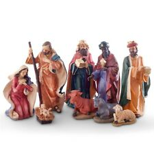 Large 9 Piece Christmas Nativity Scene Ornament Set Traditional Design