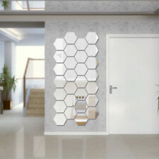12Pcs Mirror Hexagon Removable Acrylic Wall Stickers Art DIY Home Decor Sple