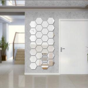 12Pcs Mirror Hexagon Removable Acrylic Wall Stickers Art DIY Home Decor Sple
