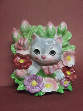 Vintage Lefton (ESD) Kitty Cat, Flowers & Bow Wall Pocket/Planter (#MR8225B)