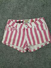 Parisian Hot Pants Denim Shorts Candy Stripe XS 6 Cute Shorts Festival New Look
