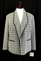 NWT $139 KASPER Portofino Geometric Blazer Jacket Shawl Open Modern PLUS 3X 22W