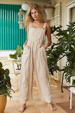 NEW FREE PEOPLE ENDLESS SUMMER Sz S SUN-DRENCHED SLOUCHY OVERALLS NATURAL COMBO