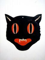 "Vintage ""Halloween"" Black Cat Decoration w/ Orange Eyes & Mouth - Big Eyes  *"