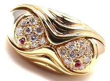 Authentic! Bulgari Bvlgari 18k Yellow Gold Diamond Ruby Naturalia Fish Band Ring