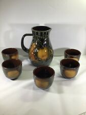 Vintage Scheurich Pitcher and Cups Dark Green Yellow Apple West Germany Pottery