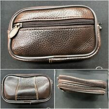 Large Brown Leather Multi Purpose Belt Pouch Bag Purse Unisex Money Cards Camera