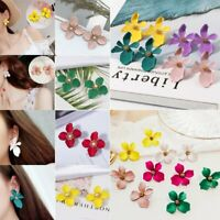 Hot Charm Boho Painting Big Flowers Ear Stud Earrings Women Wedding Jewelry Gift