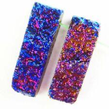 Quartz Geode Oblong Pendant Bead F34337 2Pcs Blue Titanium Crystal Agate Druzy