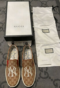 NEW 100% AUTHENTIC GUCCI GG NY YANKEES SLIP ON SNEAKERS SIZE G 9.5 US 10.5