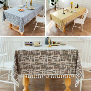 Cotton Linen Tablecloth Tassel Table Cloth Covers Moroccan Washable Home Decor✅