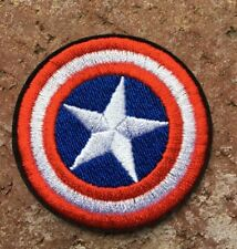 Captain America Logo Embroidery Iron On, Sewn On Heat Press