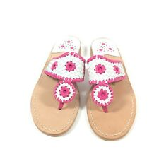 Jack Rogers Womens Pink White Flat Sandals Size 9