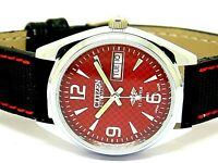 citizen genuine automatic men steel red dial vintage japan made watch run order