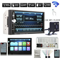 """Camera+Double 2 DIN 7""""HD Car Stereo MP3 MP5 Player Bluetooth Touch Radio In Dash"""