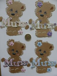 4 Large Cute MUM Bear Pretty handmade card toppers Birthday Mother's Day