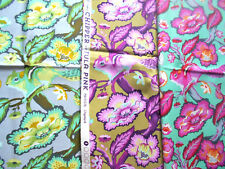 3 FQ Tula Pink~CHIPPER Animal CHIPMUNK ~FREE SPIRIT~Cotton~Quilt Purple Floral